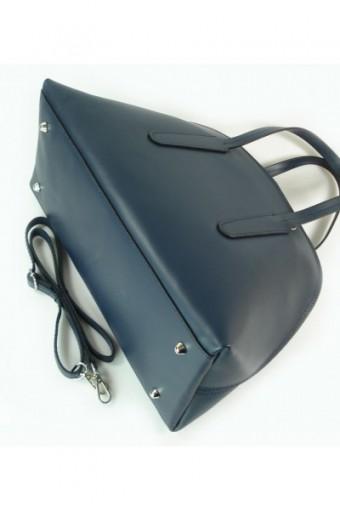 Kuferek Vera Pelle  Włoska torebka do ręki  granatowy K652BS