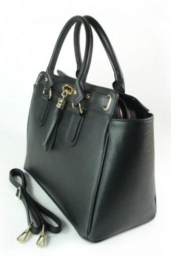 Włoska duża skórzana torebka A4  z frędzlem Vera Pelle Czarna BERK4N