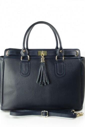 Włoska duża skórzana torebka A4  z frędzlem Vera Pelle Granatowa BERK4BS