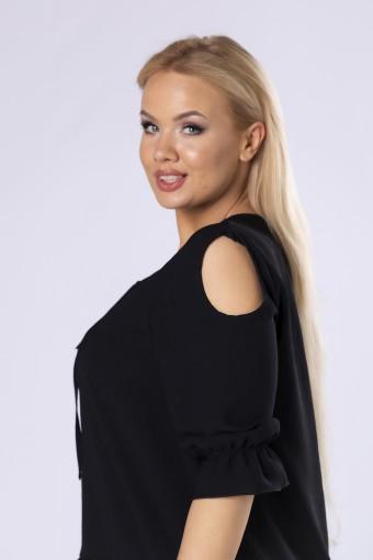 bluzka z rozcięciami na ramionach i wiązaniem przy szyi