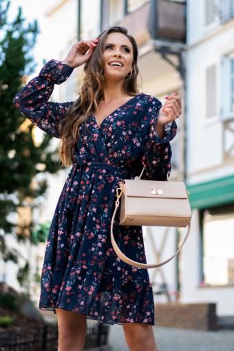 Granatowa sukienka w kwiatki