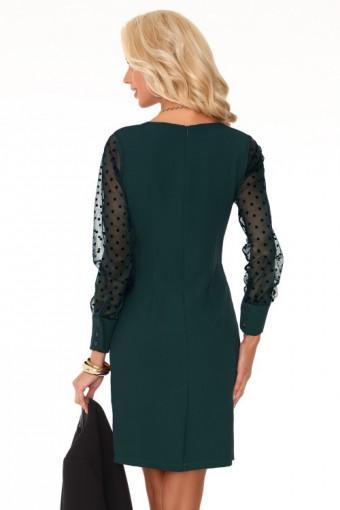 Zielona sukienka z tiulowymi rękawami