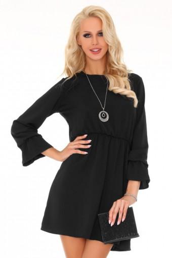 Czarna sukienka z gumką w pasie