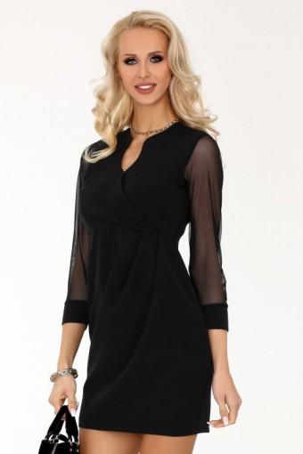Sukienka czarna z tiulowymi rękawami