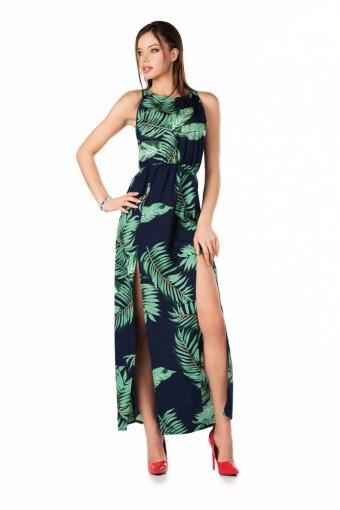 Sukienka maxi w kwiaty na grubych ramiączkach