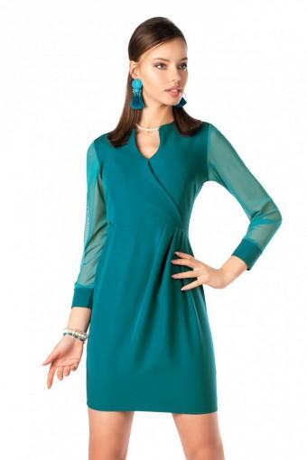 Turkusowa sukienka z tiulowymi rękawami