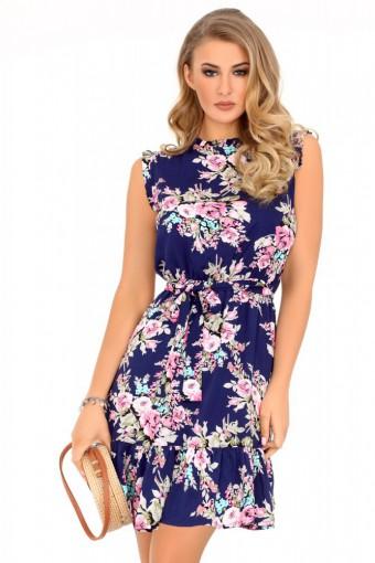 Granatowa sukienka mini w kwiaty