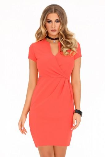 Koralowa sukienka ołówkowa z dekoltem V