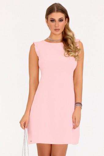 Pudrowa sukienka ołówkowa bez rękawów