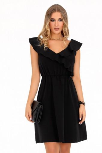 Czarna sukienka rozkloszowana z falbankami