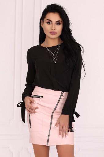 Różowa spódnica mini z ozdobnymi zamkami
