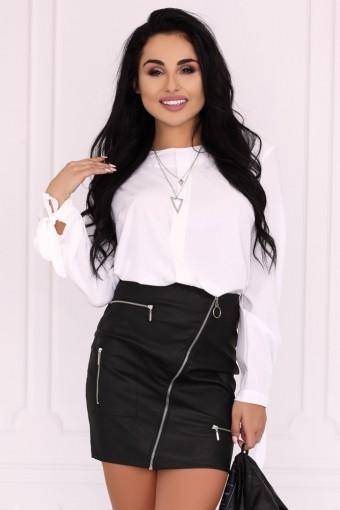 Czarna spódnica mini z ozdobnymi zamkami