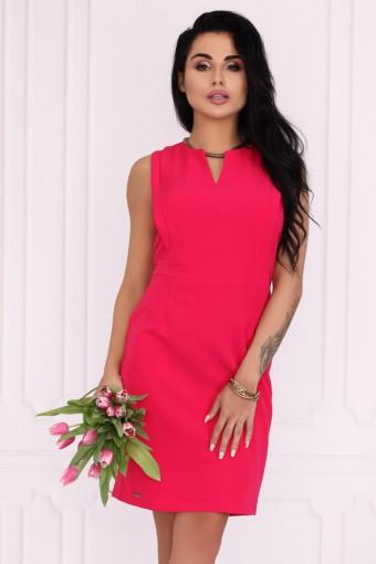 Elegancka malinowa sukienka ołówkowa