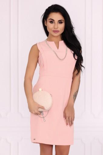 Elegancka sukienka ołówkowa pudrowy róż