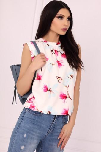Biała bluzka ze stójką bez rękawów w kwiaty