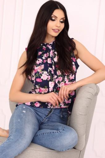 Bluzka ze stójką bez rękawów w kwiaty