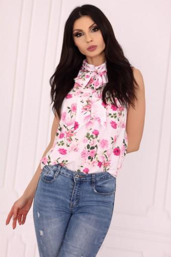 Bluzka ze stójką bez rękawów różowa w kwiaty