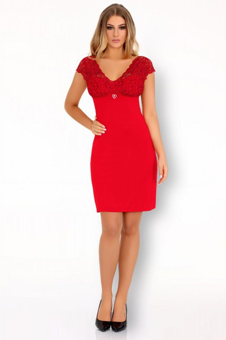 Czerwona koszulka nocna z koronkową górą