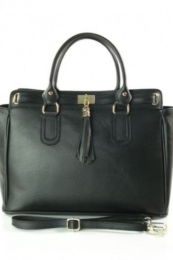 Czarna torebka skórzana A4