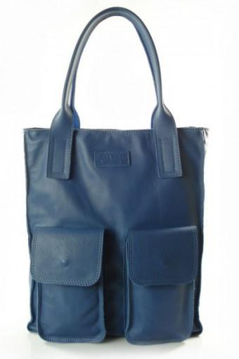 Niebieska torebka worek skórzany