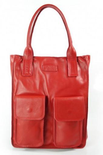 Czerwona torebka worek skórzany