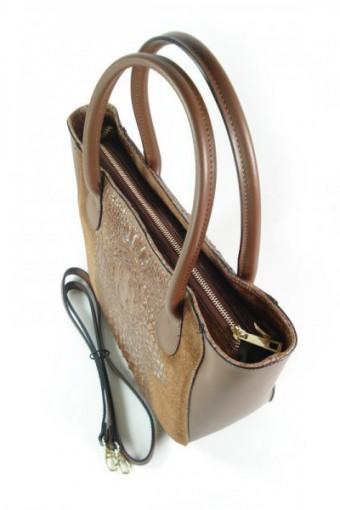 Włoska torebka skórzana brązowa