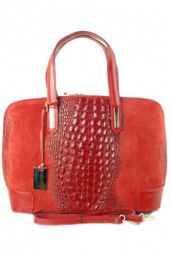 Czerwona torebka zamszowa