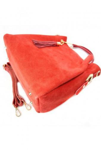 Czerwona torebka skóra zamszowa