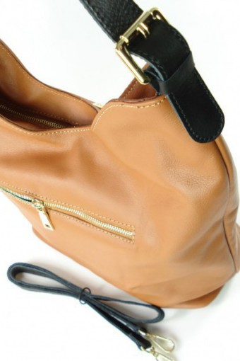 Brązowa torebka skórzana worek