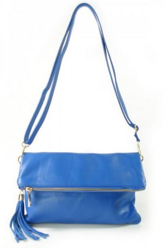 Niebieska torebka skórzana listonoszka