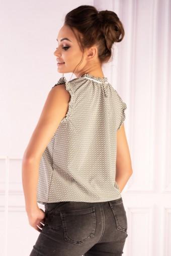 Bluzka khaki ze stójką bez rękawów w kropki