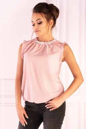 Różowa bluzka ze stójką bez rękawów w białe kropki