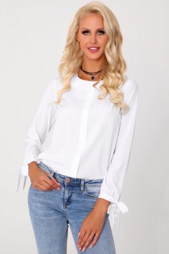 Biała elegancka bluzka z wiązanymi rękawami