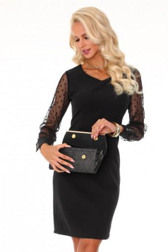 Czarna sukienka z tiulowymi rękawami