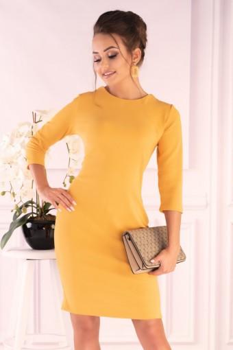 Żółta sukienka sznurowana z tyłu