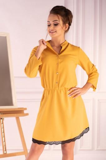 Żółta sukienka z wiązanymi rękawami