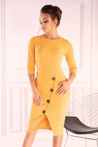 Żółta sukienka ołówkowa midi