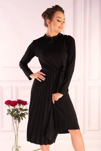 Czarna sukienka midi z plisowanym dołem