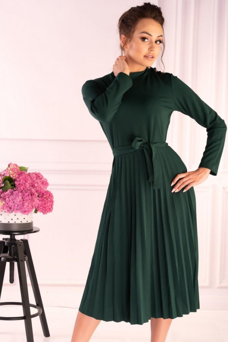 Zielona sukienka midi z plisowanym dołem