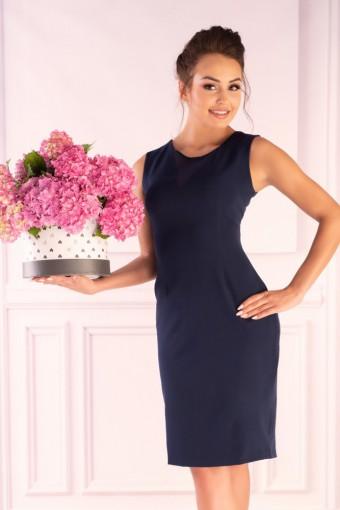 Granatowa sukienka ołówkowa na ramiączkach