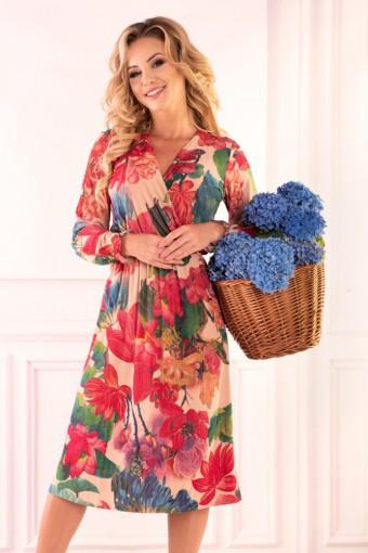 Beżowa sukienka midi w kwiaty