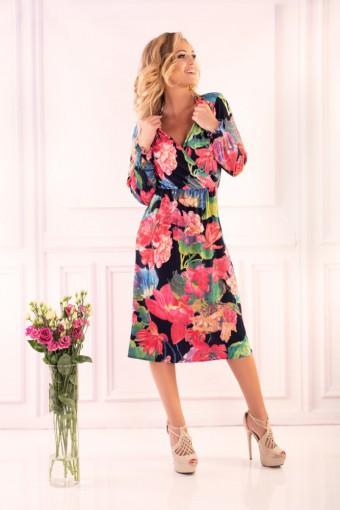 Elegancka sukienka w kwiaty midi