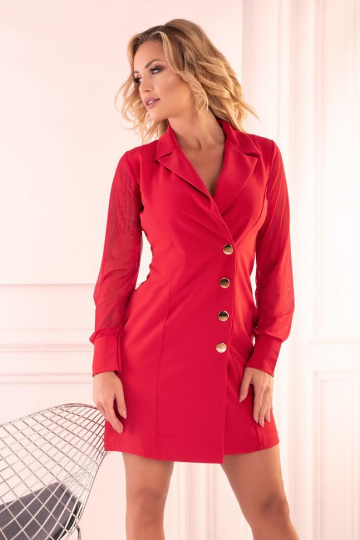 Elegancka czerwona sukienka z guzikami