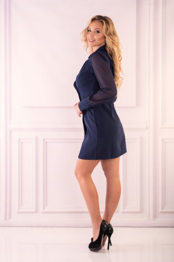 Elegancka granatowa sukienka z guzikami