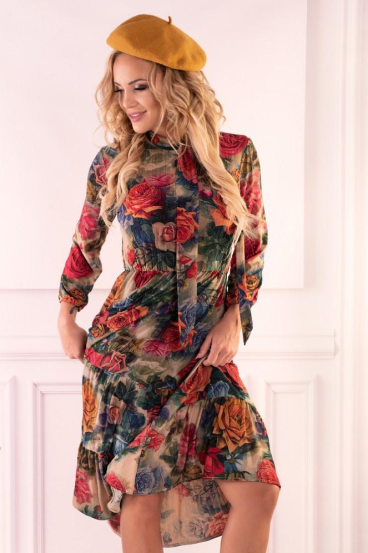 Zwiewna sukienka midi w kwiaty