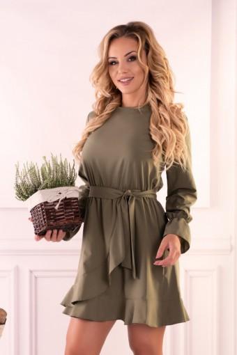 Sukienka khaki wiązana w pasie