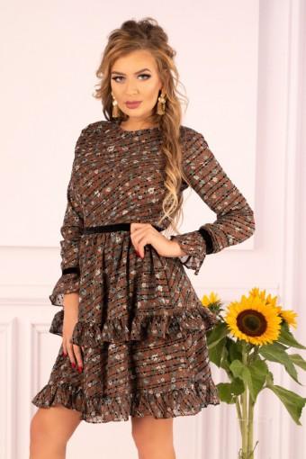 Rozkloszowana sukienka z podwójną falbaną