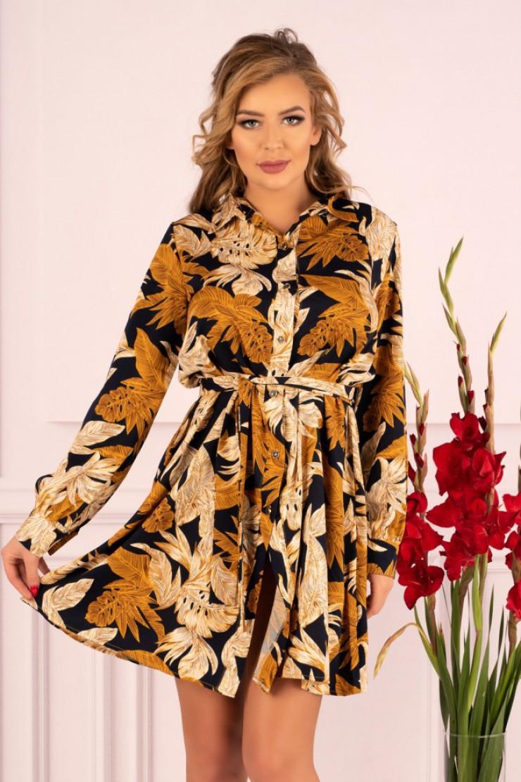 Koszulowa sukienka z długim rękawem