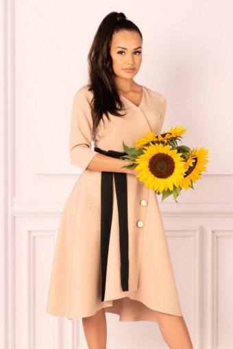 Karmelowa sukienka rozkloszowana asymetryczna