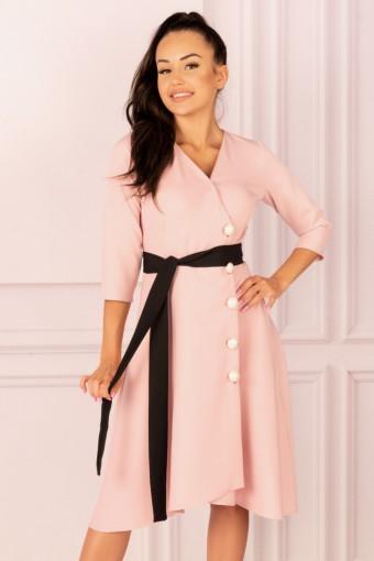 Różowa sukienka rozkloszowana asymetryczna